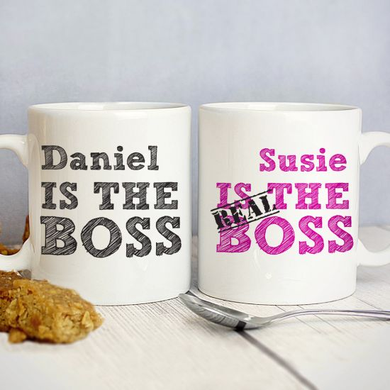 Personalised The Real Boss Mug Set - Pack of 2 - Lifestyle