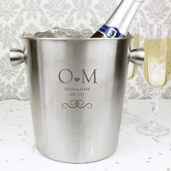 Personalised Monogram Stainless Steel Ice Bucket - Lifestyle