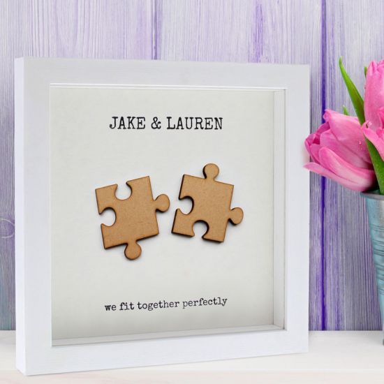 Personalised 'We Fit Together' Puzzle-Piece Poster - Lifestyle