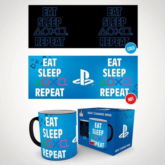 Playstation Eat Sleep Repeat Heat Change Mug - Grey Background