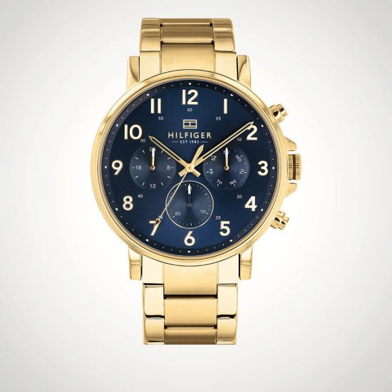 f99c6be2 Tommy Hilfiger Gold Strap with Blue Dial 1710384 | Menkind