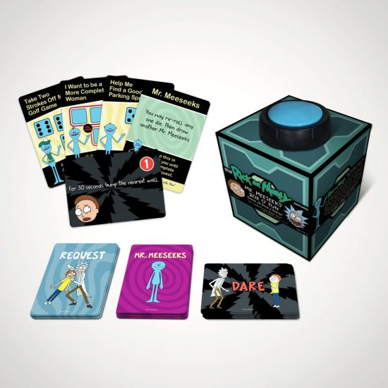 Rick and Morty Mr Meeseeks' Box o' Fun Dice Game - Grey Background