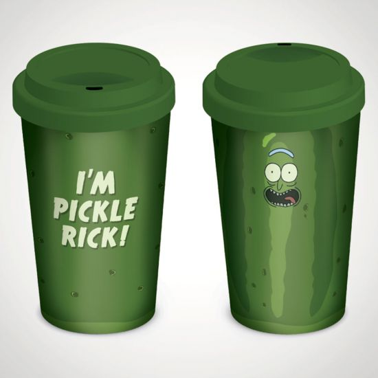 Rick and Morty (Pickle Rick) Travel Mug - Grey Background