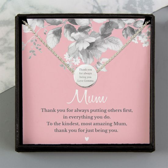Personalised Mum Sentiment Silver Tone Necklace and Box - Lifestyle