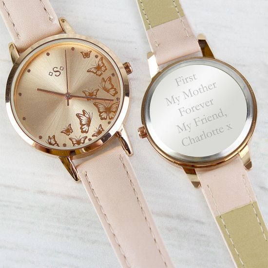 Personalised Rose Gold Ladies Watch - Grey Background - Lifestyle