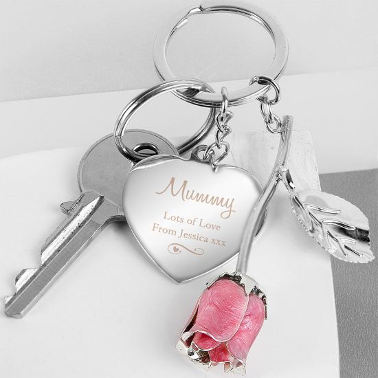 Personalised Silver Plated Swirls & Hearts Pink Rose Keyring - Lifestyle