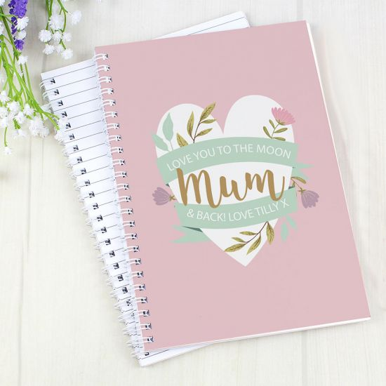 Personalised Floral Mother's Day A5 Notebook - Lifestyle