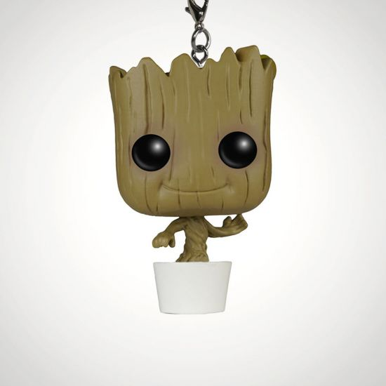 Guardians of the Galaxy Baby Groot Pop! Vinyl Keychain - Grey Background