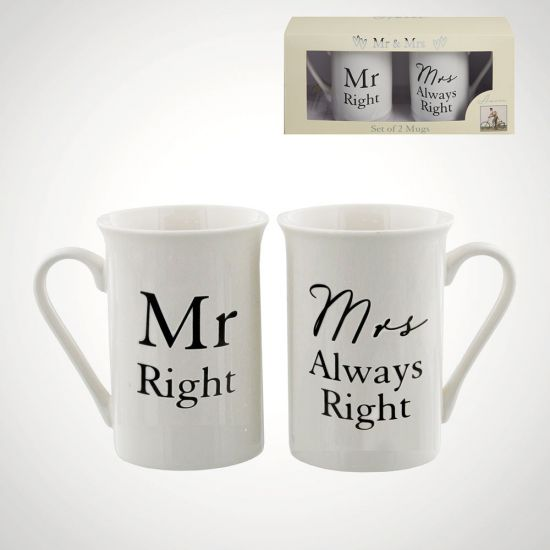Mr Right Mrs Always Right Mugs - Grey Background
