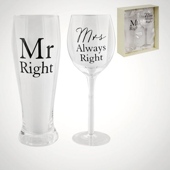 Mr Right and Mrs Always Right Glass Gift Set - Grey Background