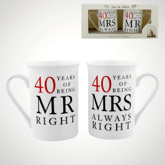 40 Years Of Being Right Anniversary Mug - Grey Background
