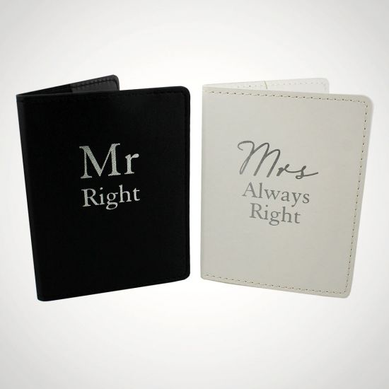 Mr Right and Mrs Always Right Passport Holders - Grey Background