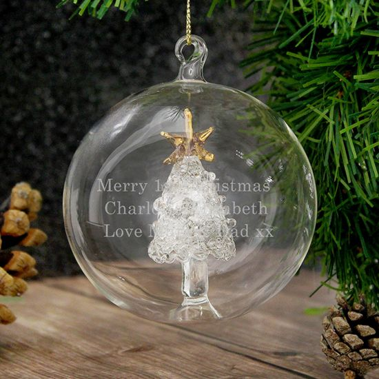 Personalised Glass Christmas Tree Bauble - Lifestyle