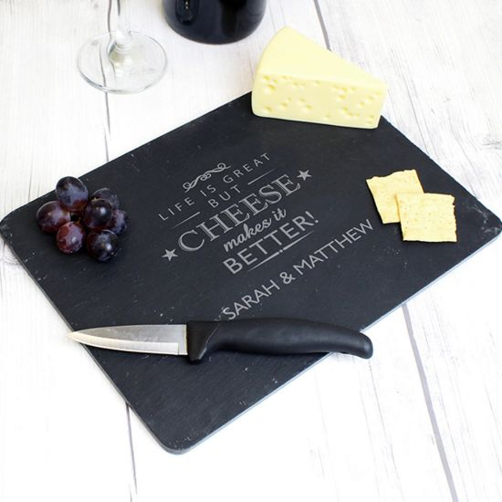 Personalised Slate Cheese Board Set - Lifestyle