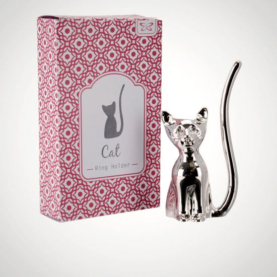Silver Cat Ring Holder - Grey Background