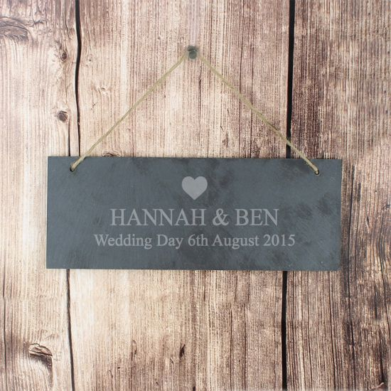 Personalised Heart Motif Hanging Slate Plaque -Lifestyle