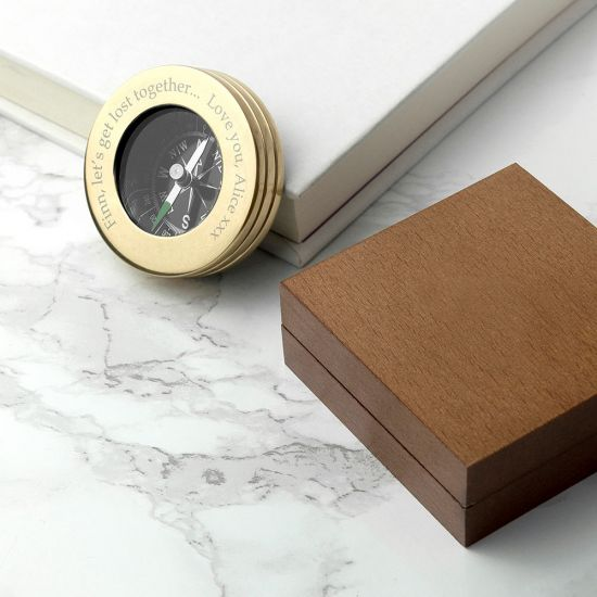 Personalised Brass Travellers Compass with Wooden Box-Lifestyle