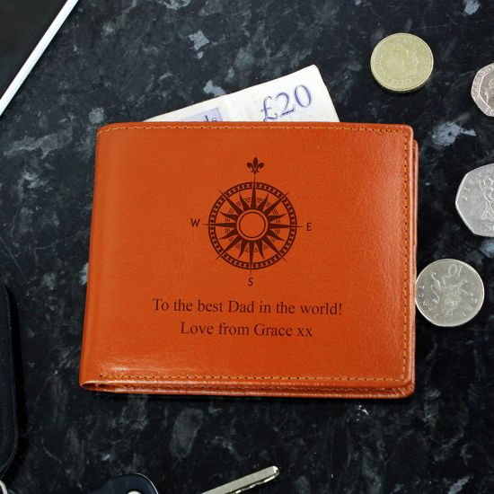 Personalised Compass Tan Leather Wallet - Lifestyle