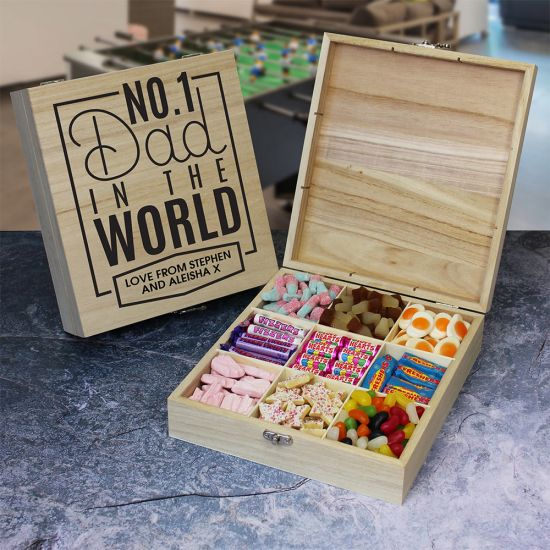 No.1 Dad Wooden Sweet Box - Lifestyle