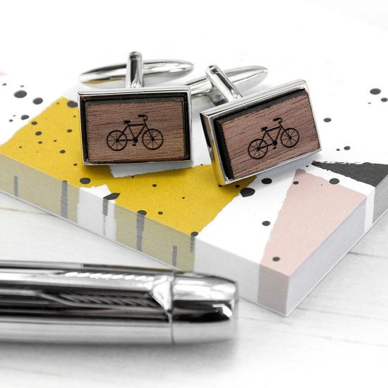 Iconic Hobbies Engraved Rectangle Walnut Cufflinks - Lifestyle