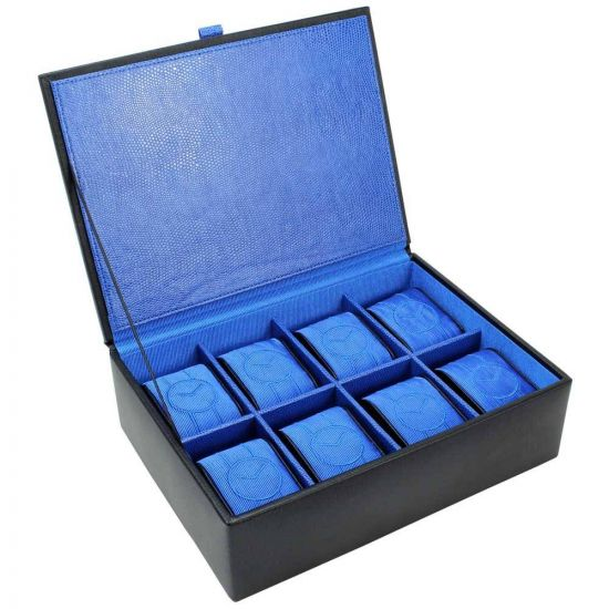 8 Piece Leather Watch Box Blue