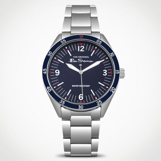 Ben Sherman Silver Watch BS007USM on a grey background