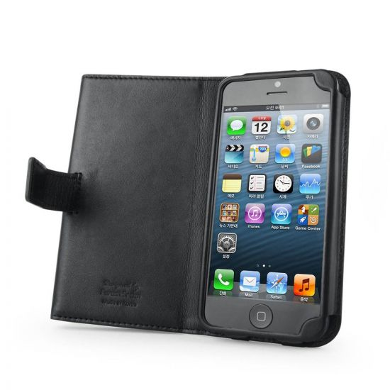 Black leather iPhone 5 Wallet Case