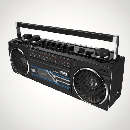 Retro Cassette Boombox with Bluetooth - Grey Background