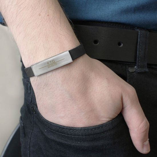 Classic Male Rubber and Steel Bracelet 1