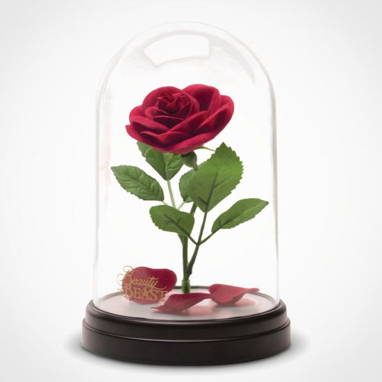 Beauty and the Beast Enchanted Rose Light on a grey background