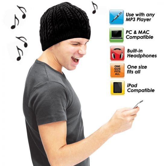 9208a92cf1b Full Cable Knitted Beanie Integrated Headphone Hat | Menkind