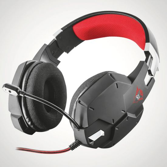 GXT 322 Carus Gaming Headset - Black - Grey Background