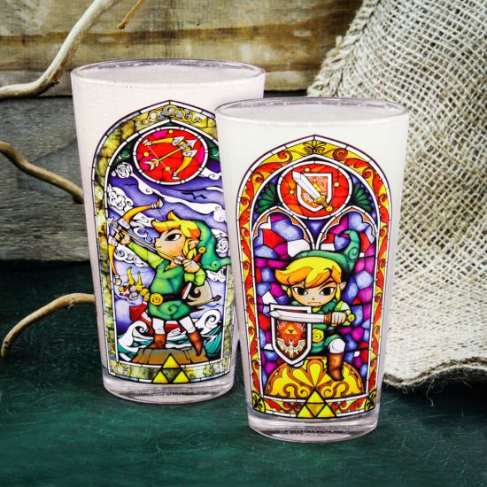 Legend of Zelda Link's Glass showing each side of the glass on a wooden background