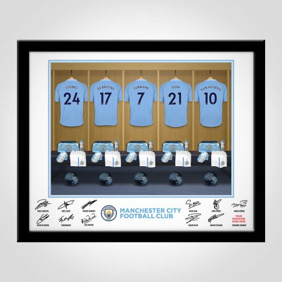 Personalised Man City Dressing Room Framed Print
