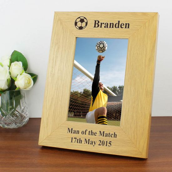 Oak Finish 6x6 Football Photo Frame 1