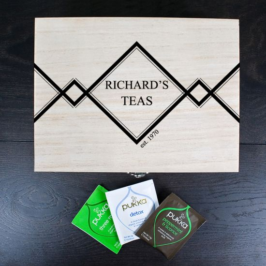 Gentlemen's Teas Personalised Wooden Tea Box