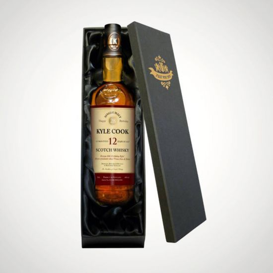 Personalised Birthday 12 Year Old Malt Whisky in a Silk Lined Box-Grey Background