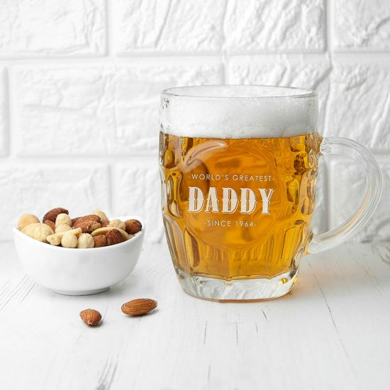 Personalised Father's Day Dimpled Beer Glass 1