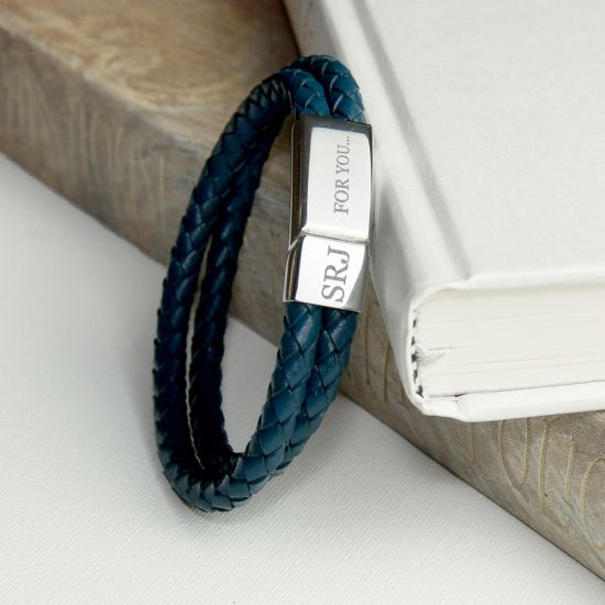 Personalised Men's Dual Leather Woven Bracelet in Teal 1