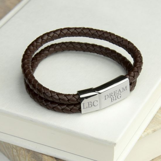 Personalised Men's Dual Leather Woven Bracelet In Umber 1