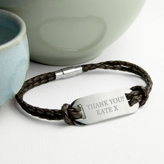 Personalised Men's Statement Leather Bracelet In Brown 1
