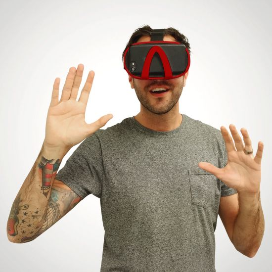 Vizor 3D Virtual Reality Glasses - Red Modelled on a grey background