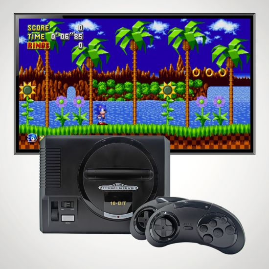 Sega Mega Drive Gold Edition with tv and grey background