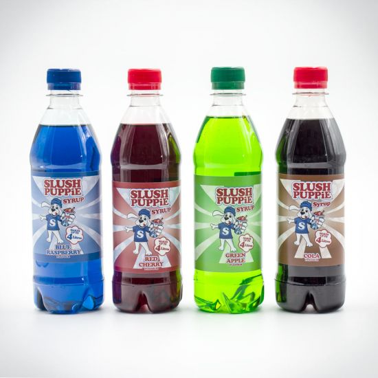 Slush Puppie Syrups group shot of Red Cherry, Blue Raspberry, Cola and Green Apple flavours