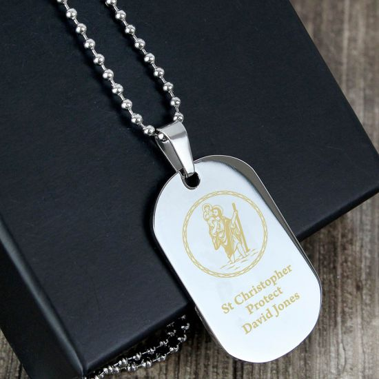 Personalised St Christopher Stainless Steel Dog Tag Necklace 1