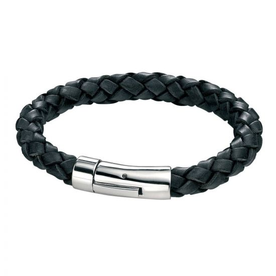 Stainless Steel Leather Bracelet B3672