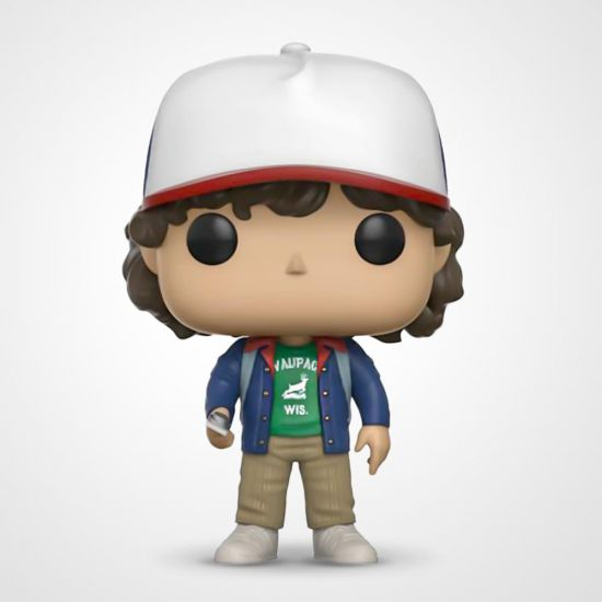 Stranger Things Dustin Pop! Vinyl on a grey background