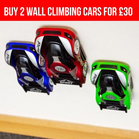 wall climbing cars on wall with 2 for £30 offer