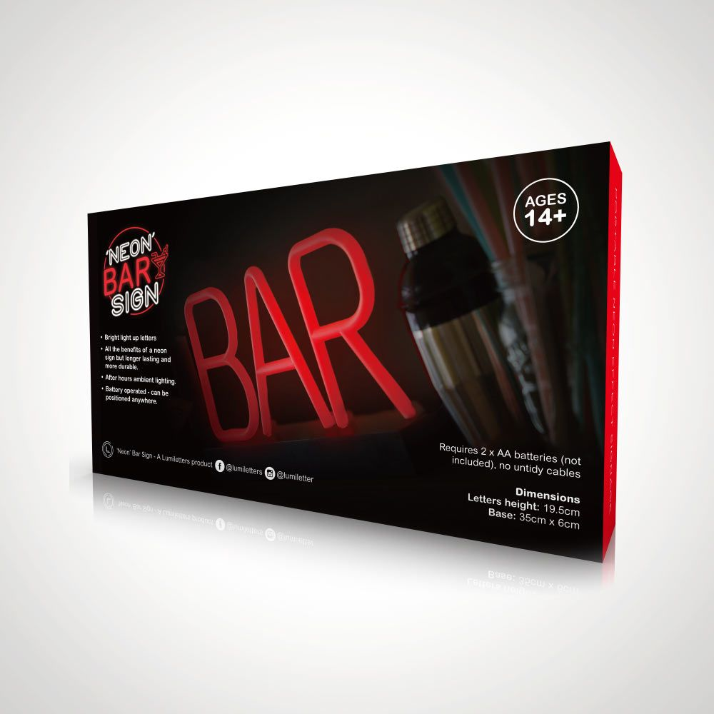 LED Light-Up Neon Bar Sign - Portable and Durable   Menkind