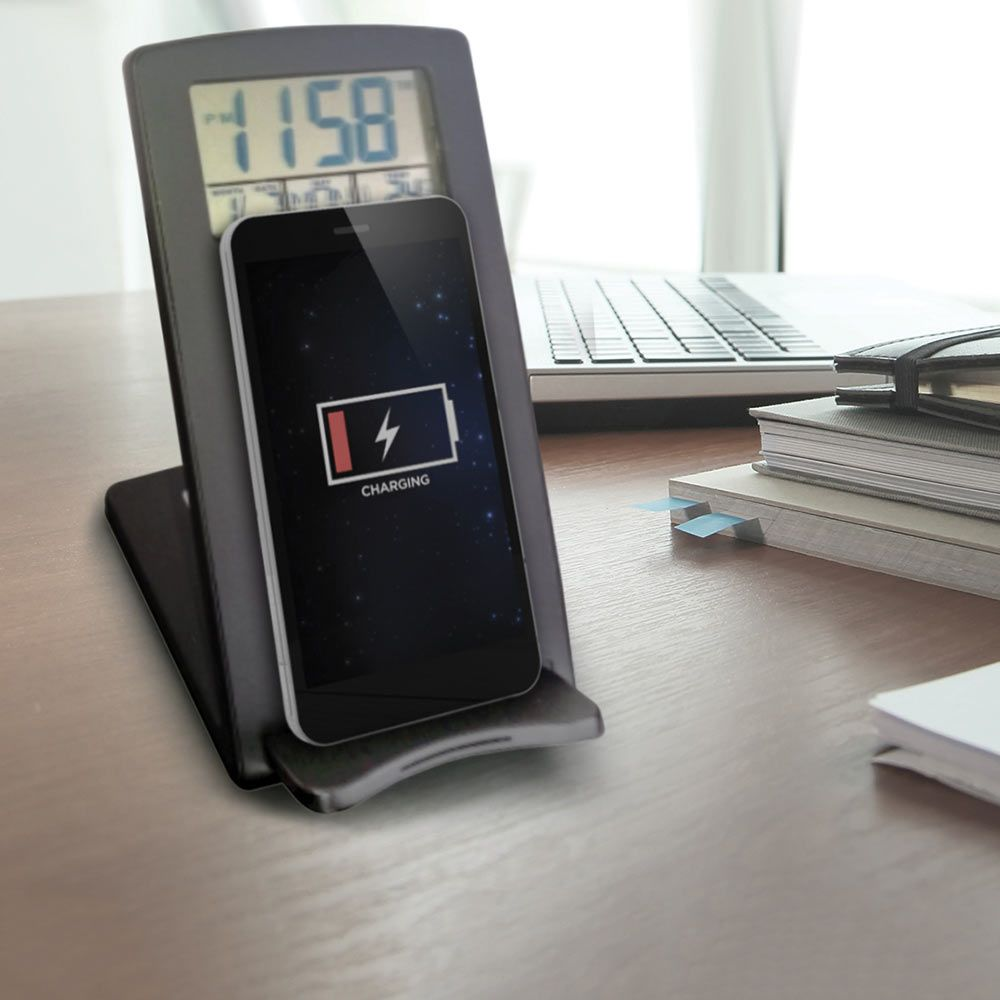 Wireless Phone Charger with Clock | Menkind
